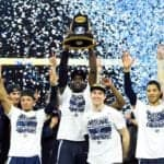 Villanova Wildcats forward Daniel Ochefu hoists the national championship trophy with teammates after defeating the North Carolina Tar Heels in the championship game of the 2016 NCAA Men's Final Four at NRG Stadium, April 4, 2016.