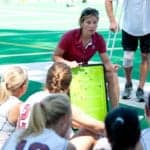 STANFORD, CA - SEPTEMBER 6: Coach Tara Danielson coaches against Michigan State on September 6, 2010 in Stanford, California.